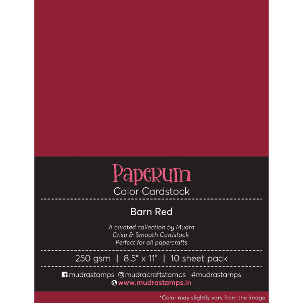 Barn Red Color Cardstock Paper board 250gsm 8.5x11 - Mudra Paperum