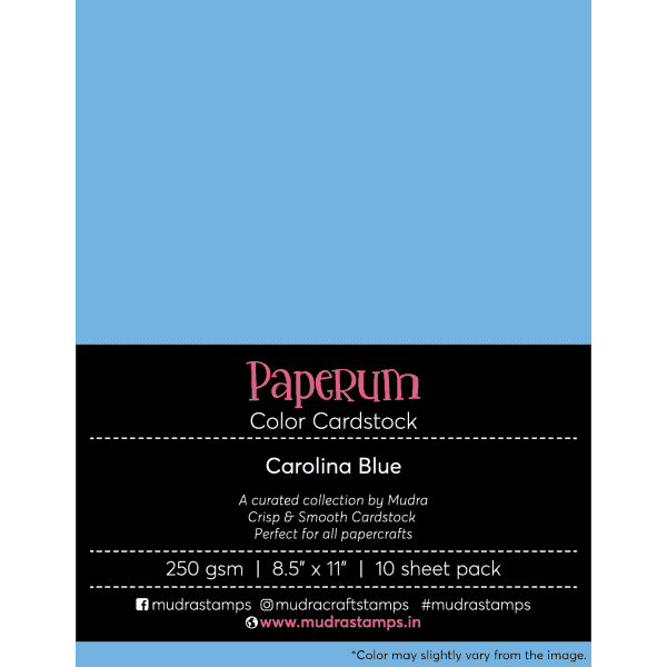 Carolina Blue Color Cardstock Paper board 250gsm 8.5x11 - Mudra Paperum