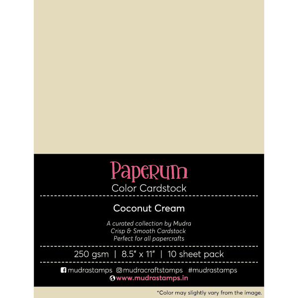 Redcoconut creme Color Cardstock Paper board 250gsm 8.5x11 - Mudra Paperum
