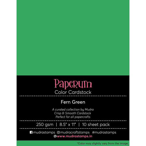 Fern Green Color Cardstock Paper board 250gsm 8.5x11 - Mudra Paperum