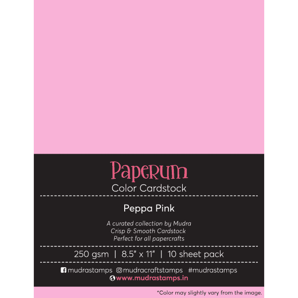 Peppa Pink Color Cardstock Paper board 250gsm 8.5x11 - Mudra Paperum