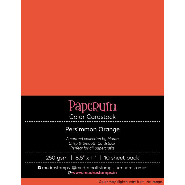 Persimmon Orange Color Cardstock Paper board 250gsm 8.5x11 - Mudra Paperum