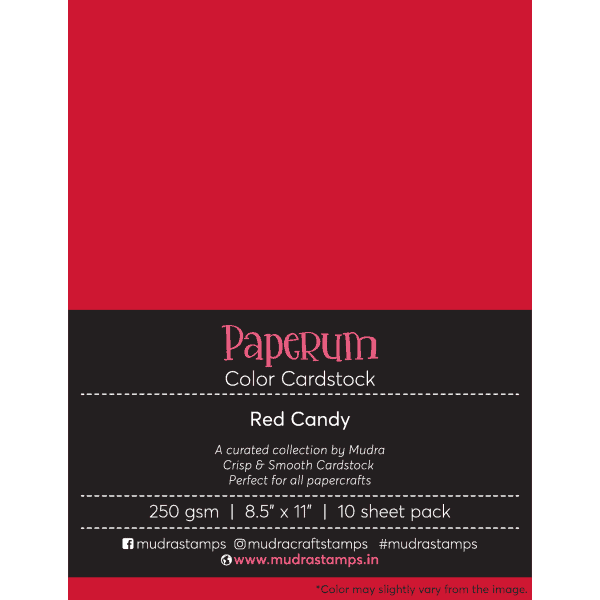 Red Candy Color Cardstock Paper board 250gsm 8.5x11 - Mudra Paperum