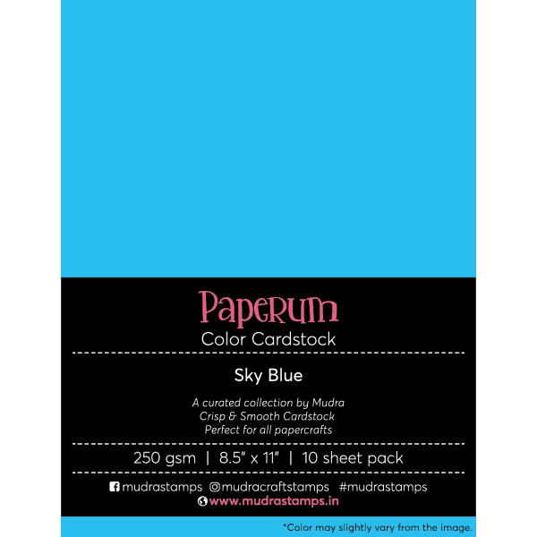Sky Blue Color Cardstock Paper board 250gsm 8.5x11 - Mudra Paperum