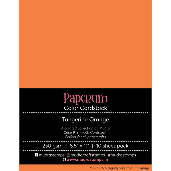 Tangerine Orange Color Cardstock Paper board 250gsm 8.5x11 - Mudra Paperum