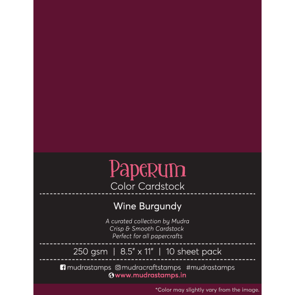 Wine Burgundy Color Cardstock Paper board 250gsm 8.5x11 - Mudra Paperum
