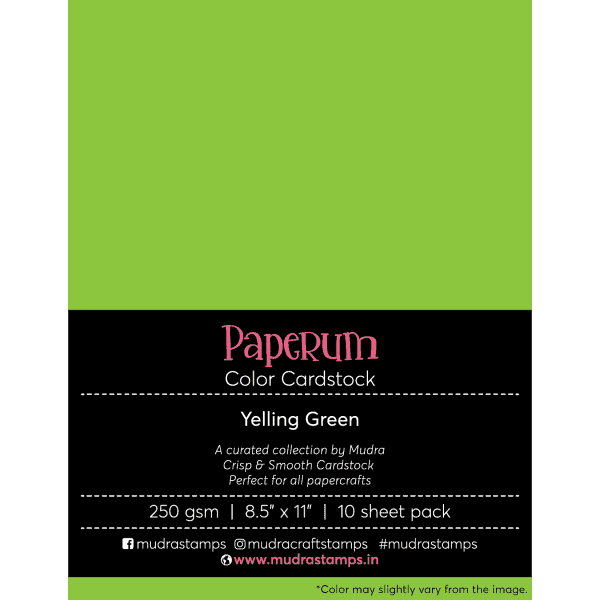 Yelling Green Color Cardstock Paper board 250gsm 8.5x11 - Mudra Paperum