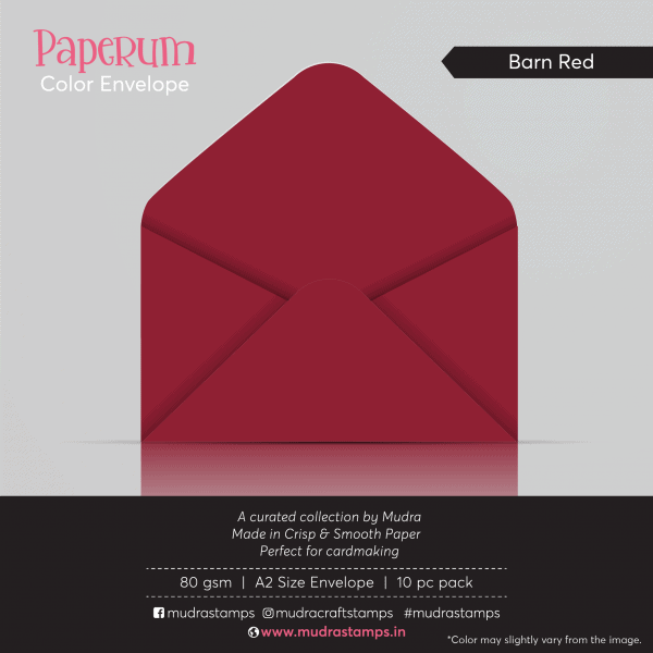 Barn Red Color Envelope for A2 size card - Mudra Paperum