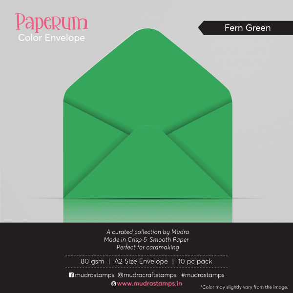Fern Green Color Envelope for A2 size card - Mudra Paperum