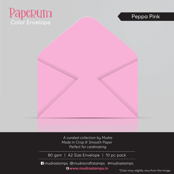 Red Peppa Pink Color Envelope for A2 size card - Mudra Paperum
