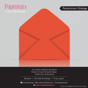 Persimmon Orange Color Envelope for A2 size card - Mudra Paperum