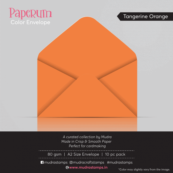 Tangerine Orange Color Envelope for A2 size card - Mudra Paperum