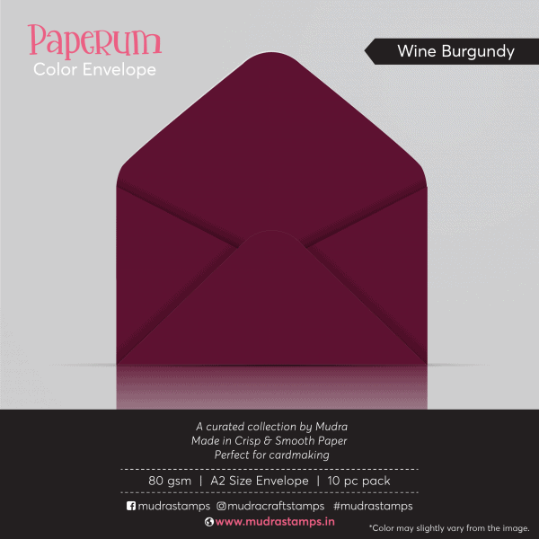 Wine Burgundy Color Envelope for A2 size card - Mudra Paperum