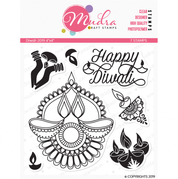 diwali design photopolymer stamp for crafts, arts and DIY by Mudra