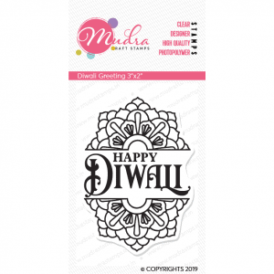 diwali greeting design photopolymer stamp for crafts, arts and DIY by Mudra