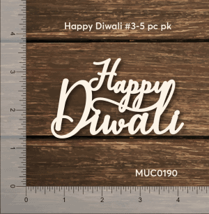 Chipzeb - Happy Diwali #3 - designer chipboard laser cut embellishment by Mudra