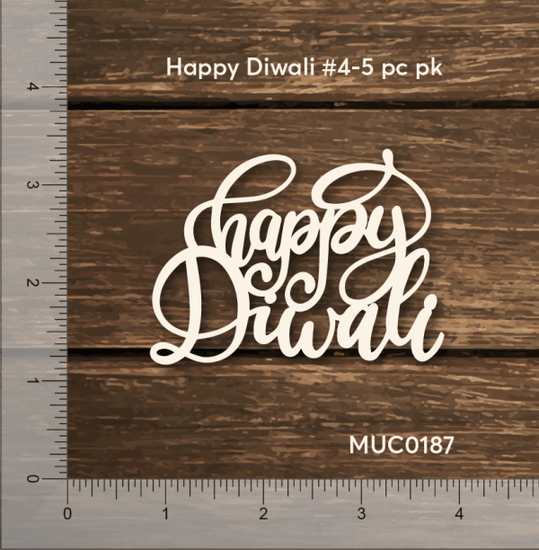Chipzeb - Happy Diwali #4 - designer chipboard laser cut embellishment by Mudra