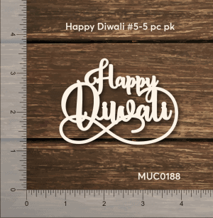 Chipzeb - Happy Diwali #5 - designer chipboard laser cut embellishment by Mudra