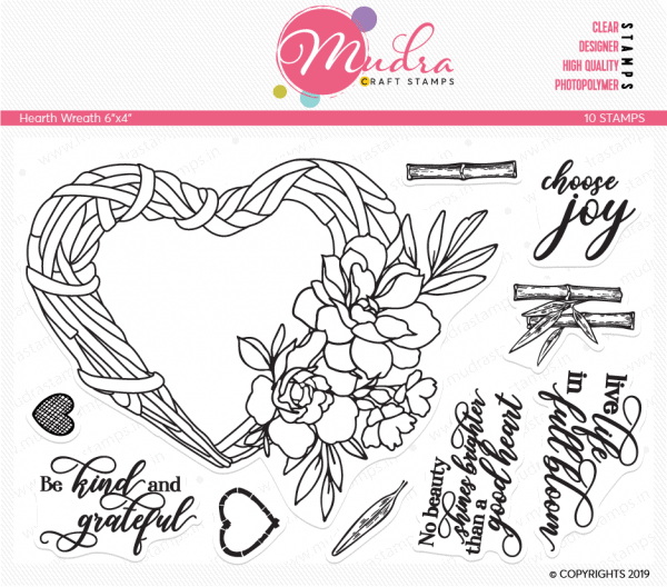 heart wreath design photopolymer stamp for crafts, arts and DIY by Mudra