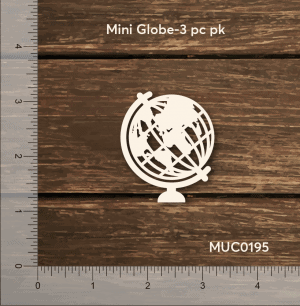 Chipzeb - Mini Globe - designer chipboard laser cut embellishment by Mudra