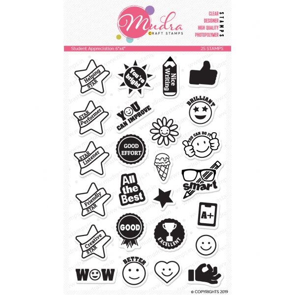 student appreciation design photopolymer stamp for crafts, arts and DIY by Mudra
