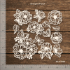 Chipzeb - Stripped Floral - designer chipboard laser cut embellishment by Mudra