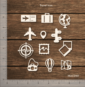 Chipzeb - Travel Icon - designer chipboard laser cut embellishment by Mudra