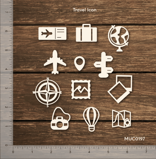 Chipzeb - Travel Icon - designer chipboard laser cut embellishment by Mudra