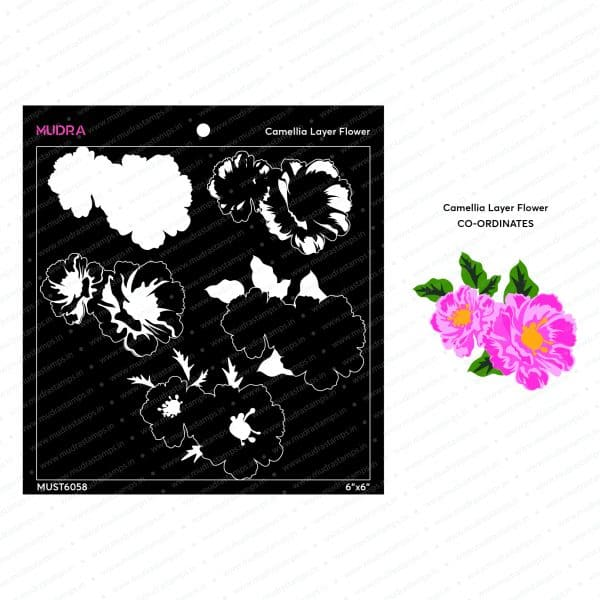 Craft Stencils- Camellia layer Flower 6x6 - Mudra