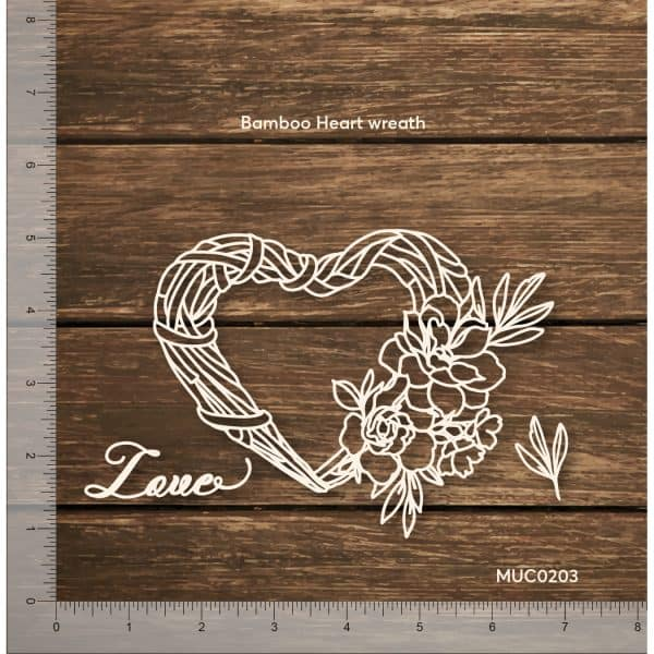 Chipzeb - Bamboo Heart Wreath - designer chipboard laser cut embellishment by Mudra