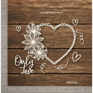 Chipzeb - Doodle Floral Heart - designer chipboard laser cut embellishment by Mudra