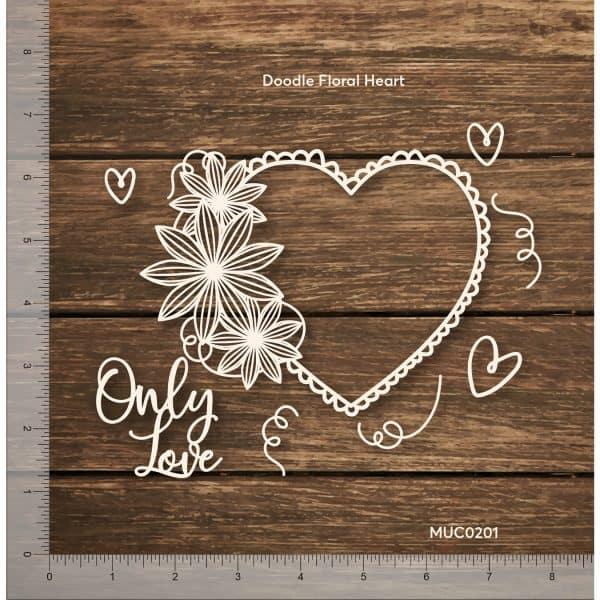 Chipzeb - Doodle Floral Heart - designer chipboard laser cut embellishment by Mudra