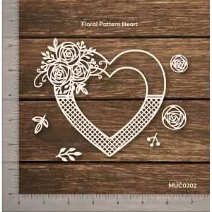 Chipzeb - Floral Pattern Heart - designer chipboard laser cut embellishment by Mudra