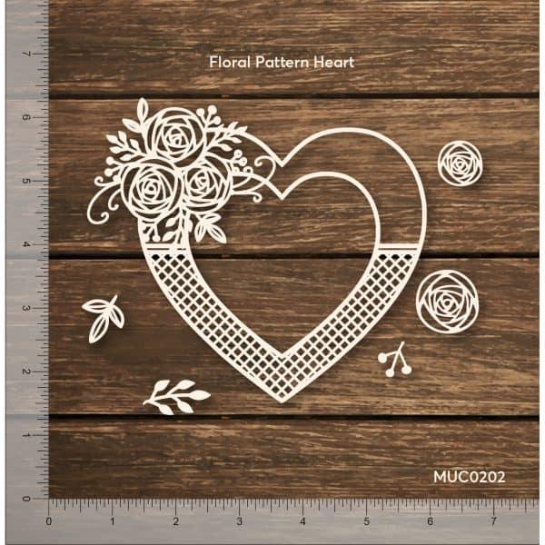 Chipzeb - Floral Pattern Heart - designer chipboard laser cut embellishment by Mudra