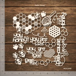 Chipzeb - Hello Honey - designer chipboard laser cut embellishment by Mudra