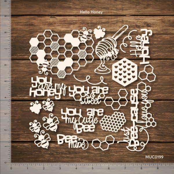 Chipzeb - Hello Honey - designer chipboard laser cut embellishment by Mudra
