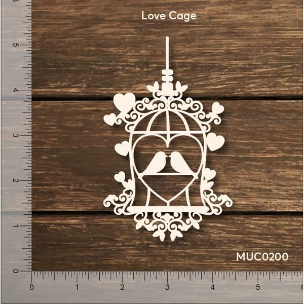 Chipzeb - Love Cage - designer chipboard laser cut embellishment by Mudra