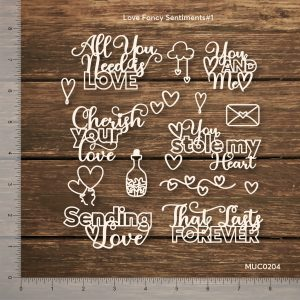 Chipzeb - Love Fancy Sentiments #1 - designer chipboard laser cut embellishment by Mudra