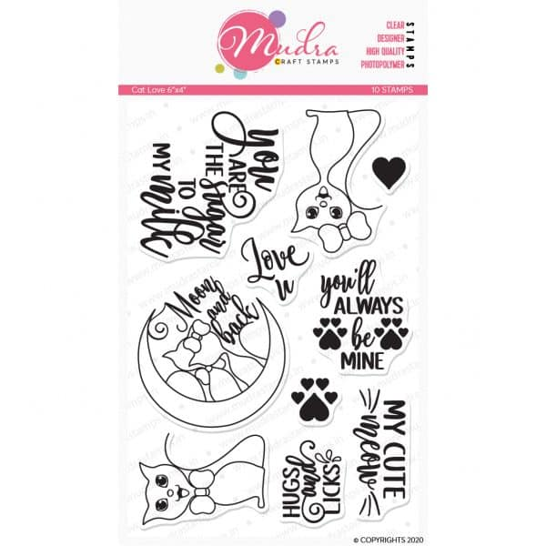 Cat Love design photopolymer stamp for crafts, arts and DIY by Mudra