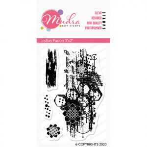 indian fusion design photopolymer stamp for crafts, arts and DIY by Mudra