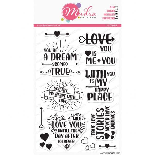Love Sentiments design photopolymer stamp for crafts, arts and DIY by Mudra