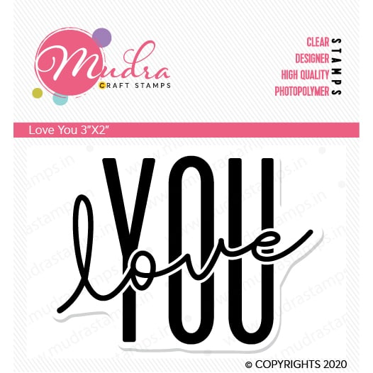 love you design photopolymer stamp for crafts, arts and DIY by Mudra