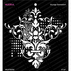 Craft Stencils - Grunge Damask#1 6x6 - Mudra