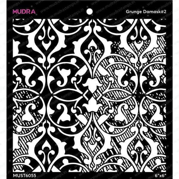 Craft Stencils - Grunge Damask#2 6x6 - Mudra