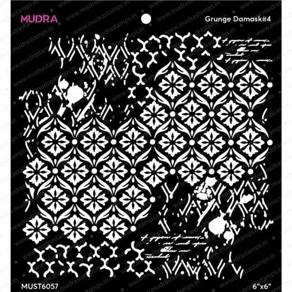 Craft Stencils - Grunge Damask #4 6x6 - Mudra
