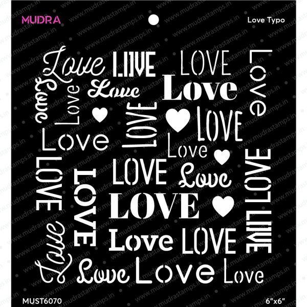 Craft Stencils - Love Typo 6x6 - Mudra