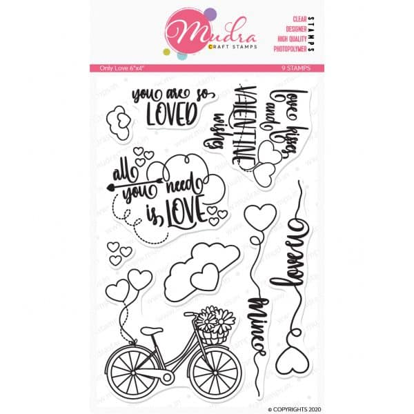only love design photopolymer stamp for crafts, arts and DIY by Mudra