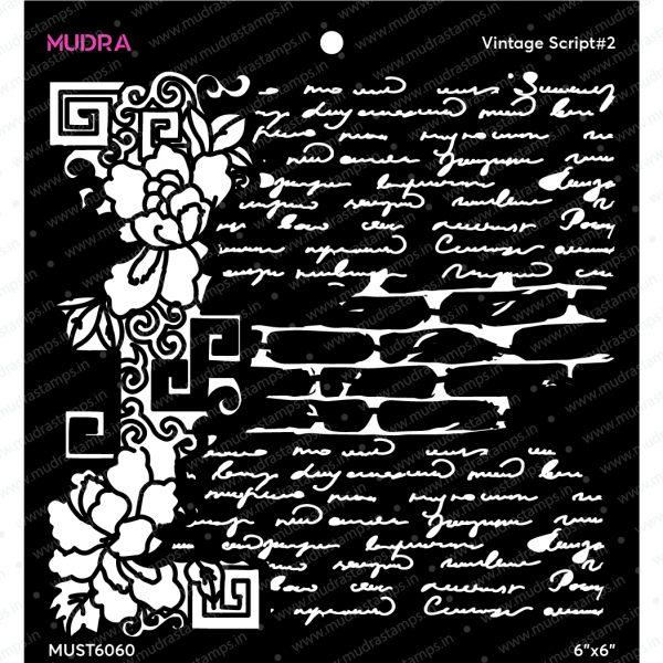 Craft Stencils - Vintage Script #2 - 6x6 - Mudra