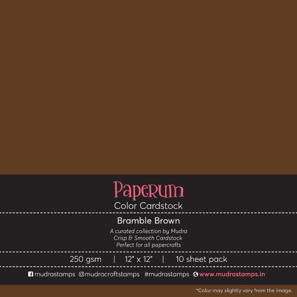 Bramble brown Color Cardstock Paper board 250gsm 12x12 - Mudra Paperum