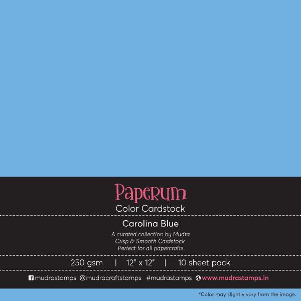 Carolina Blue Color Cardstock Paper board 250gsm 12x12 - Mudra Paperum
